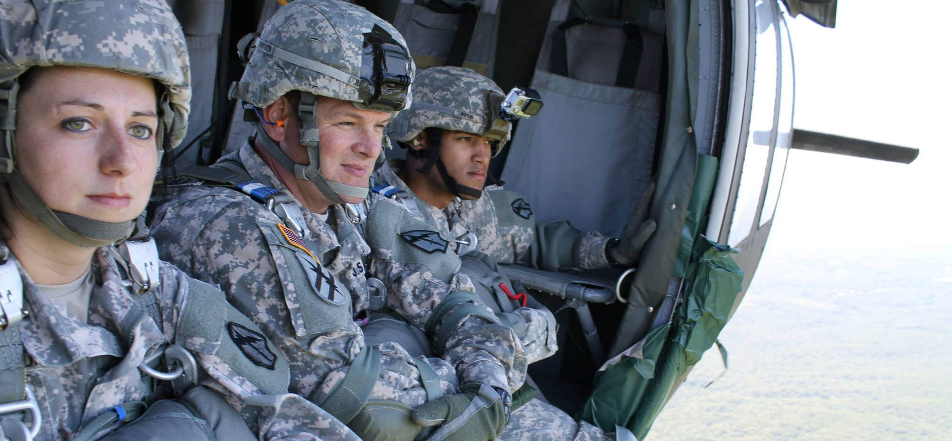Military members in aircraft